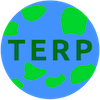 PlanetTerp's logo. The logo is a circle with a blue background and light green blots appearing on it. The word 'TERP' is in dark green in the middle.